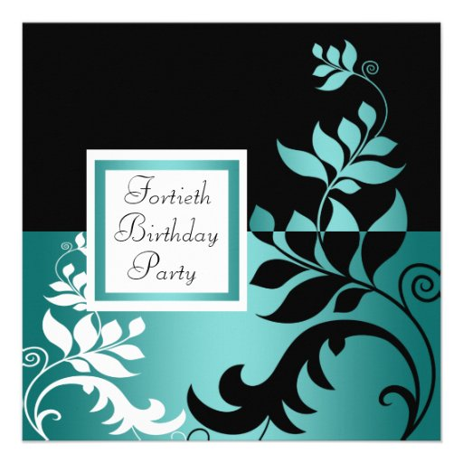 Teal Blue Black Womans 40th Birthday Party Personalized Invitations