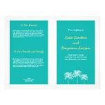 Teal blue block palm trees summer wedding program flyer design