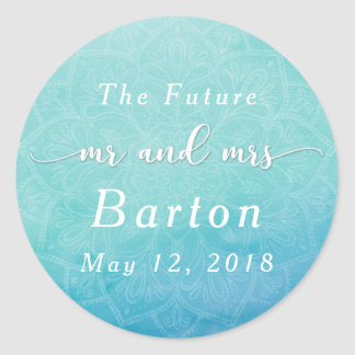 Teal & Blue, Boho Mandala Wedding Celebration Classic Round Sticker