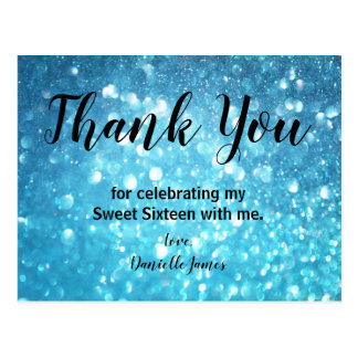 Teal Blue Bokeh Lights Sweet 16 Thank You Note Postcard