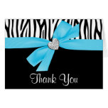 Teal Blue Bow Diamond Heart Zebra Thank You Greeting Card