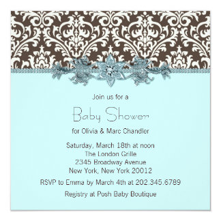 Teal Blue Brown Damask Baby Shower Card
