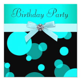 Teal Blue Bubbles Any Number Birthday Party Card