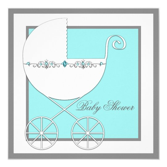 Teal Blue Carriage Baby Shower Card