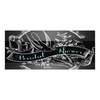 Teal Blue Chalkboard Bridal Shower 4x9.25 Paper Invitation Card