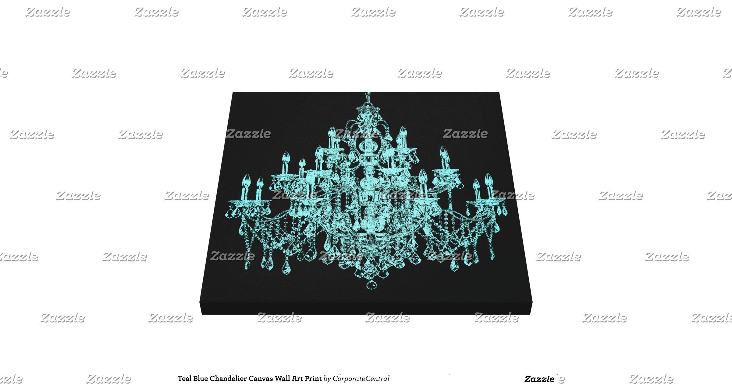 Teal Blue Chandelier Canvas Wall Art Print Gallery Wrapped