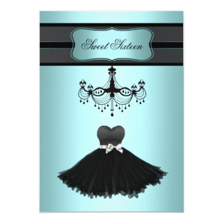 "Teal Blue Chandelier Sweet Sixteen Birthday Party 5"" X 7"" Invitation Card"