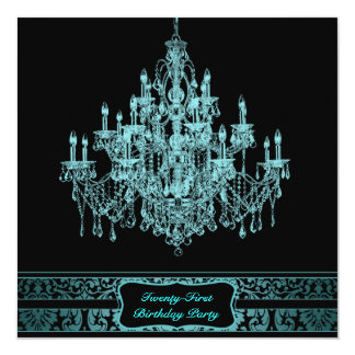 """Teal Blue Chandelier Womans 21st Birthday Party 5.25"""" Square Invitation Card"""