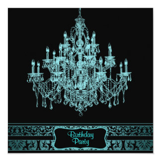 Teal Blue Chandelier Womans Any Number Birthday Pa 13 Cm X 13 Cm Square Invitation Card