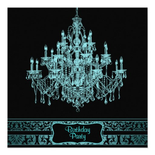 Teal Blue Chandelier Womans Any Number Birthday Pa Personalized Announcement
