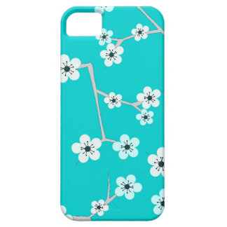 Teal Blue Cherry Blossom Print Case For The iPhone 5
