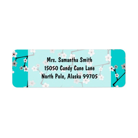 Teal Blue Cherry Blossom Print Return Address Label