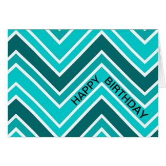 Teal Blue Chervon Pattern Zig Zag Happy Birthday Greeting Card