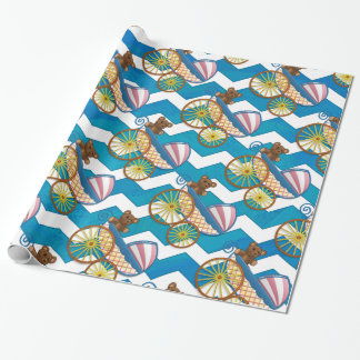 Teal Blue Chevron Baby Carriage Pattern
