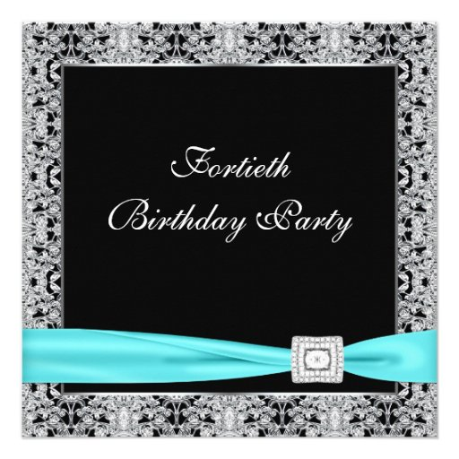 Teal Blue Classy Black 40th Birthday Party Personalized Invitation