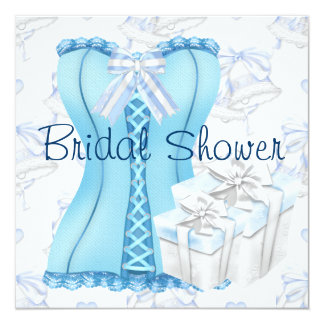 Teal Blue Corset Bridal Shower Invitations
