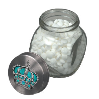 Teal Blue Crown Prince Baby Shower Candy Glass Candy Jars