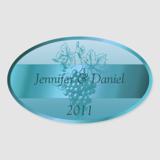 Teal Blue Custom Wine Labels Oval Sticker