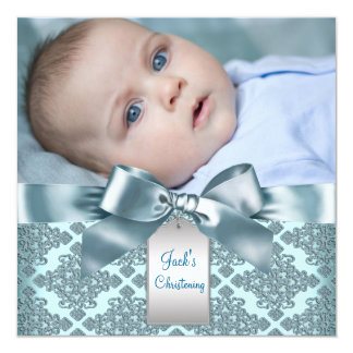 Teal Blue Damask Baby Boy Photo Christening Personalized Announcement