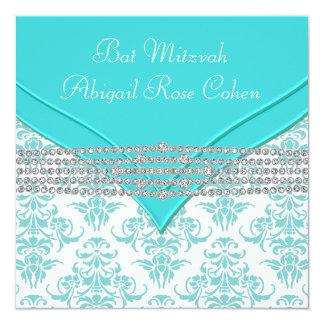 "Teal Blue Damask Bat Mitzvah 5.25"" Square Invitation Card"
