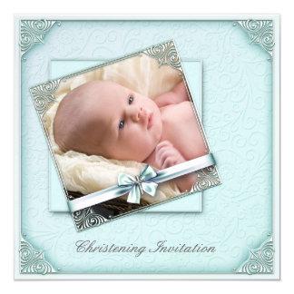 "Teal Blue Damask Girl Photo Christening 5.25"" Square Invitation Card"