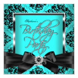 Teal Blue Damask Silver Black Birthday Party 13 Cm X 13 Cm Square Invitation Card