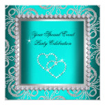 Teal Blue Damask Silver Diamonds Heart Party Personalised Announcement