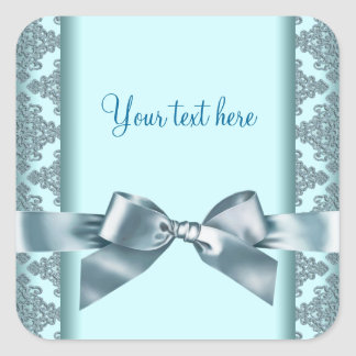 Teal Blue Damask Square Sticker