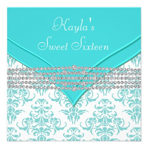 Teal Blue Damask Sweet 16 Party Custom Announcements