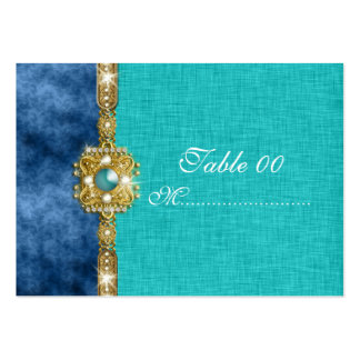 teal blue damask table placement guests business card template