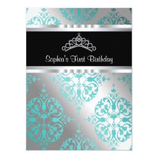 Teal Blue Damask Tiara Princess First Birthday Par 17 Cm X 22 Cm Invitation Card