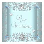 Teal Blue Damask Wedding Silver Diamond Hearts 13 Cm X 13 Cm Square Invitation Card