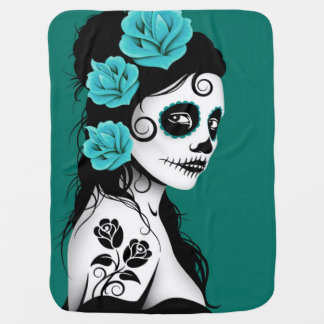 Teal Blue Day of the Dead Sugar Skull Girl Baby Blanket