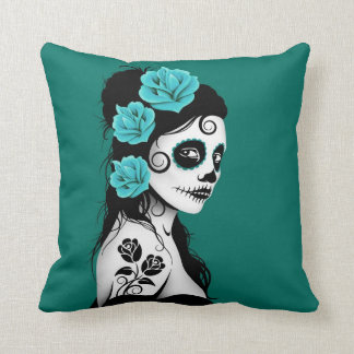 Teal Blue Day of the Dead Sugar Skull Girl Cushion