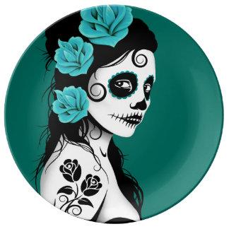 Teal Blue Day of the Dead Sugar Skull Girl Porcelain Plate