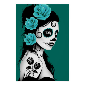 Teal Blue Day of the Dead Sugar Skull Girl Poster