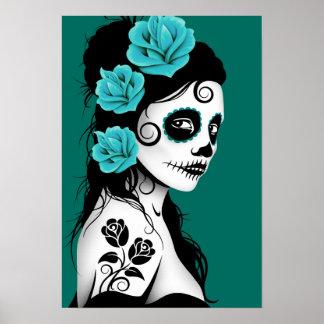 Teal Blue Day of the Dead Sugar Skull Girl Print