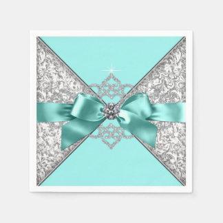 Teal Blue Diamond Bow Disposable Napkin