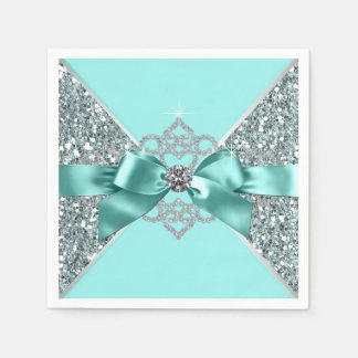 Teal Blue Diamond Bow Disposable Serviettes