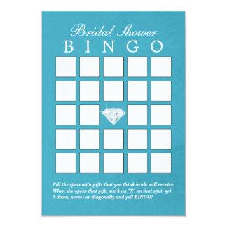 Teal Blue Diamond Bridal Shower Bingo Cards 9 Cm X 13 Cm Invitation Card