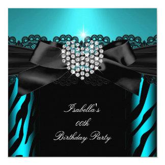 Teal Blue Diamond Heart Zebra Birthday Party 2 13 Cm X 13 Cm Square Invitation Card