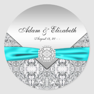 Teal Blue Diamond Wedding Favour Labels Round Stickers