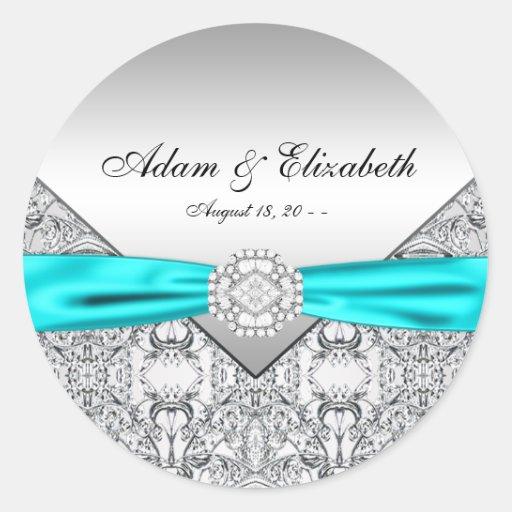Teal Blue Diamond Wedding Round Stickers