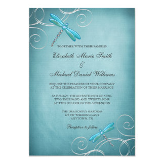 Teal Blue Dragonfly Swirls Wedding 13 Cm X 18 Cm Invitation Card