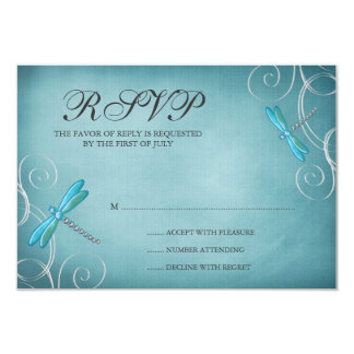 Teal Blue Dragonfly Swirls Wedding Response Card