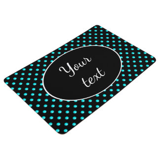 Teal Blue Droplet/Button Dot Design Floor Mat