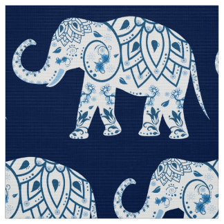 Teal Blue Elephant  Fabric
