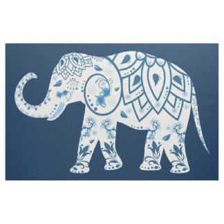 Teal Blue Elephant Mural Fabric