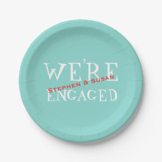 Teal Blue Engagement Crawfish Boil Party Plates 7 Inch Paper Plate