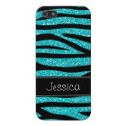 Teal Blue Faux Glitter Zebra Personalised Case For iPhone 5/5S